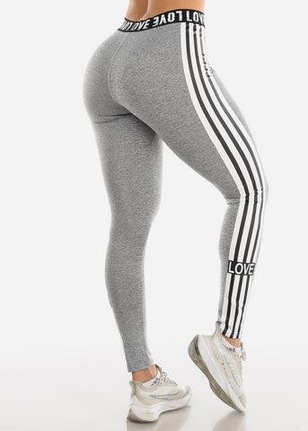 "Image of Activewear Heather Grey Stripe Leggings ""Love"""