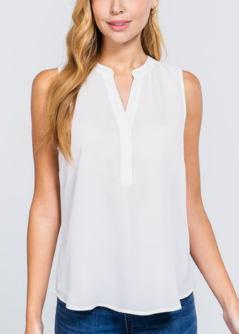 White Sleeveless Dressy Top