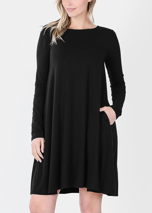 Black Long Sleeve Flare Dress