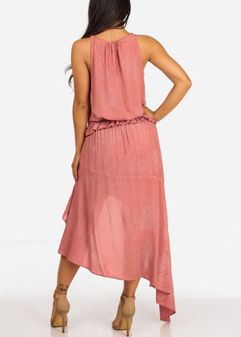 Coral Lightweight Sleeveless Top And High Rise High Low Skirt