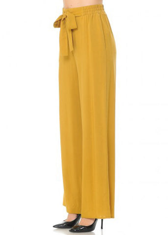 Tie Front Wide Legged Mustard Pants