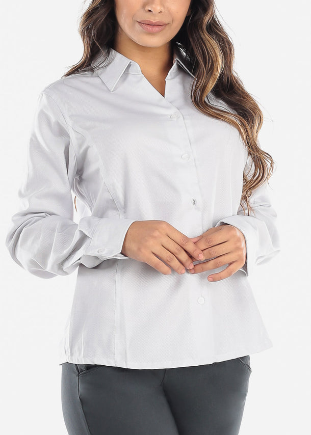 Silver Wrinkle-Free Printed Button Down Shirt