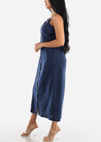 Image of Button Up Navy Cotton Maxi Dress