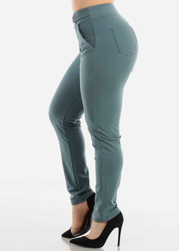 Teal Pull On Dressy Pants