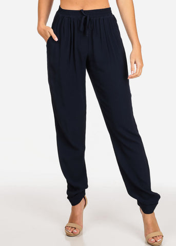 Women's Junior Summer Beach Brunch Vacation Going Out Casual Lightweight High Rise Navy Pants