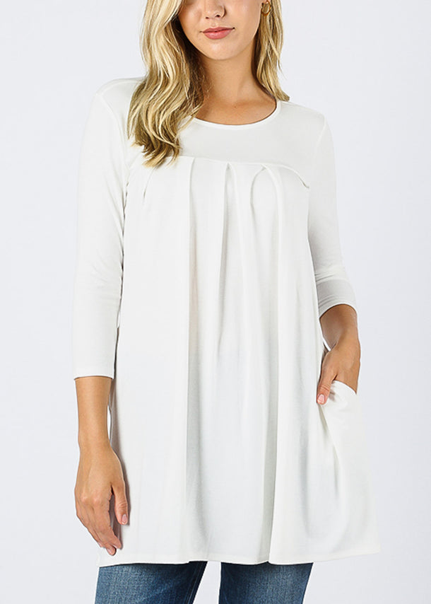 3/4 Sleeve Pleated Ivory Tunic Top