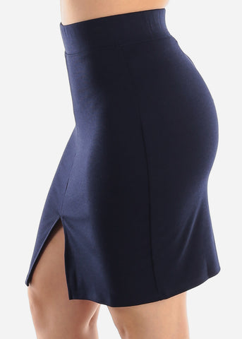 Image of Above Knee Navy Dressy Skirt