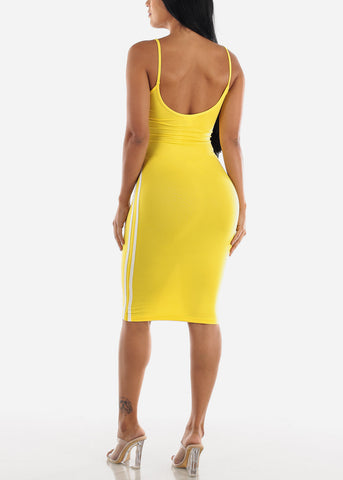 Image of Yellow Bodycon Midi Dress