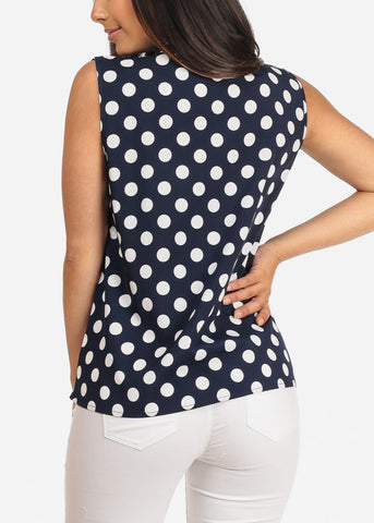 Women's Junior Ladies Stylish Casual V Neckline Dressy Sleeveless Navy Polka Dot Blouse Top