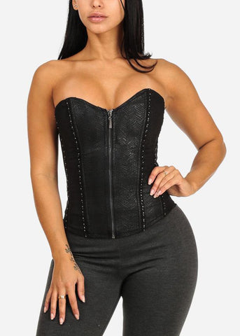 Black Sweetheart Front Zipper Corset