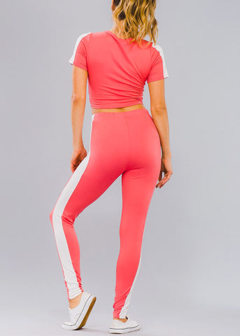 Stripe Trim Coral Crop Top & Leggings (2 PCE SET)