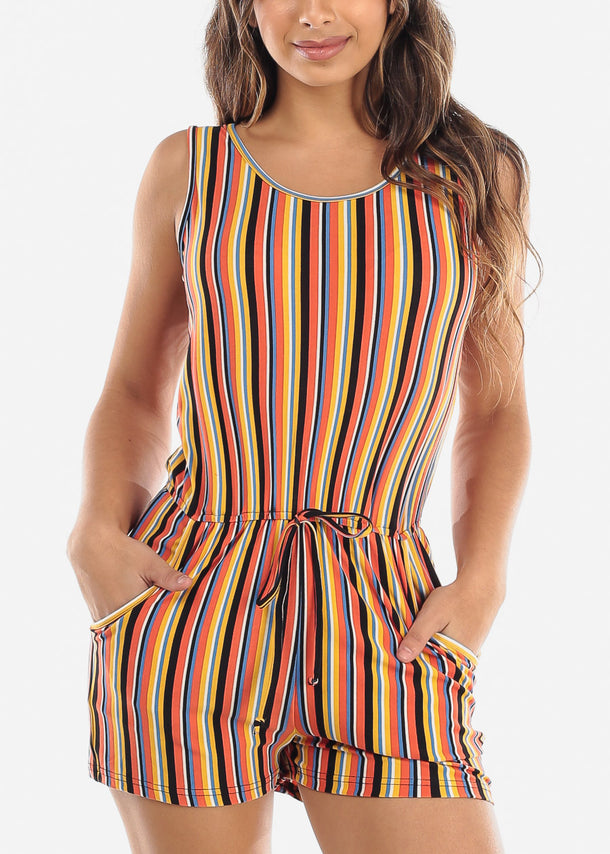 Orange Multicolor Stripe Romper