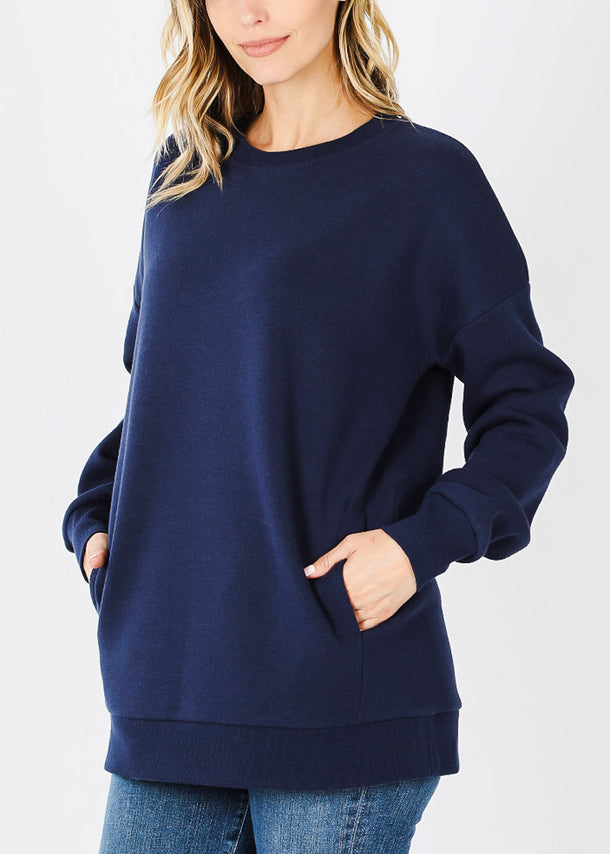 Navy Sweatshirt W Pockets