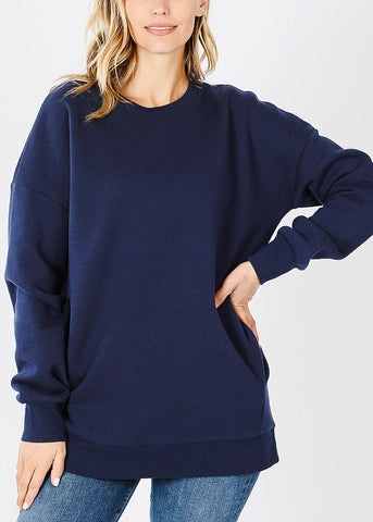 Image of Navy Sweatshirt W Pockets