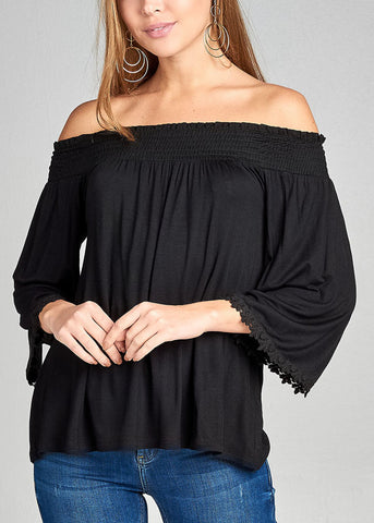 Stylish Off Shoulder 3/4 Sleeve Stretchy Black Top