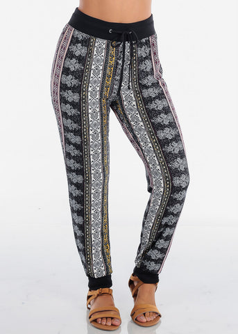 Yellow Abstract Print Jogger Pants