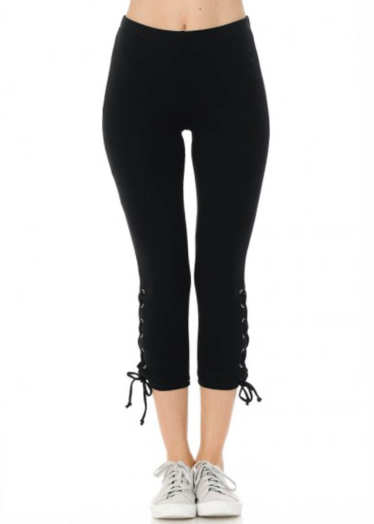 Cotton High Rise Black Capri Leggings