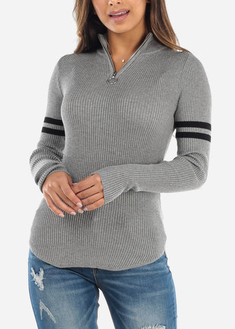 Image of Grey Half Zip High Collar Sweater BFT11128GRY