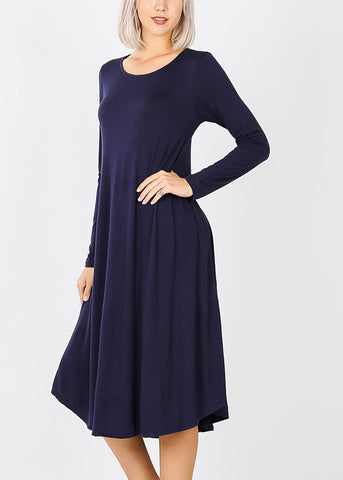Navy Long Sleeve Pocket Dress