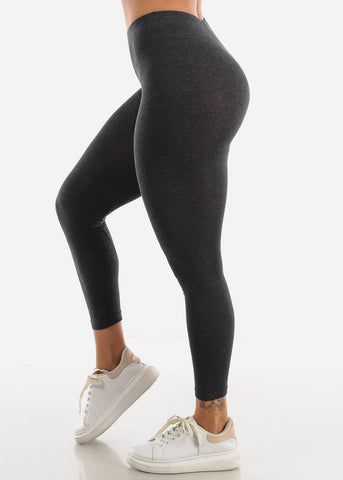 Image of Cotton High Rise Charcoal Leggings