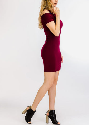 Burgundy Cold Shoulder Bodycon Dress
