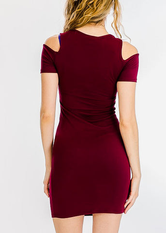 Image of Burgundy Cold Shoulder Bodycon Dress