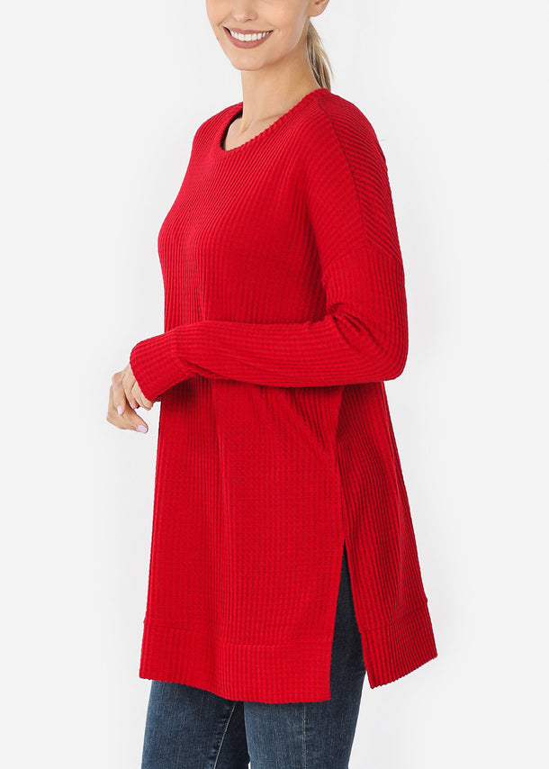 Red Bushed thermal Waffle Tunic Sweater