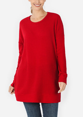 Image of Red Bushed thermal Waffle Sweater