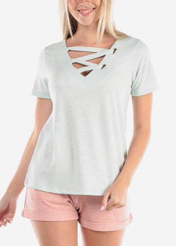 Image of Women's Junior Casual Trendy Strappy Neckline Stretchy Solid Mint Short Sleeve Top