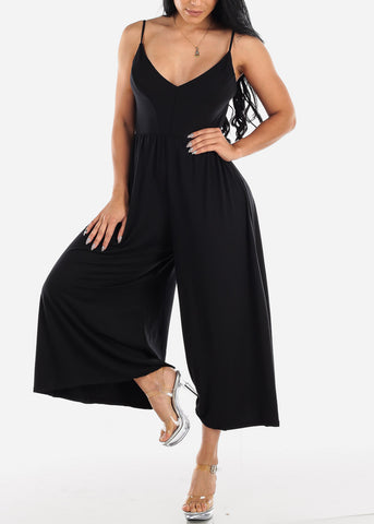 Wide Legged Black Cropped Jumpsuit