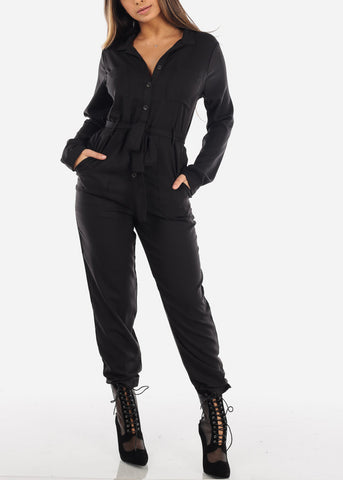 Black Long Sleeve Button Down Jumpsuit