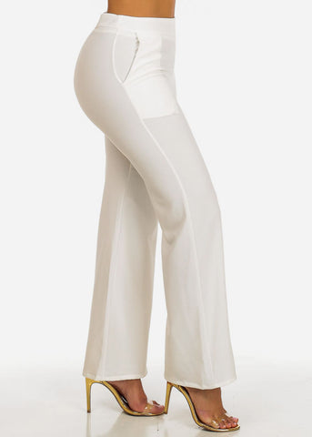 High Waisted 2-Pocket Leg Pants (White)