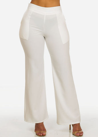Image of High Waisted 2-Pocket Leg Pants (White)