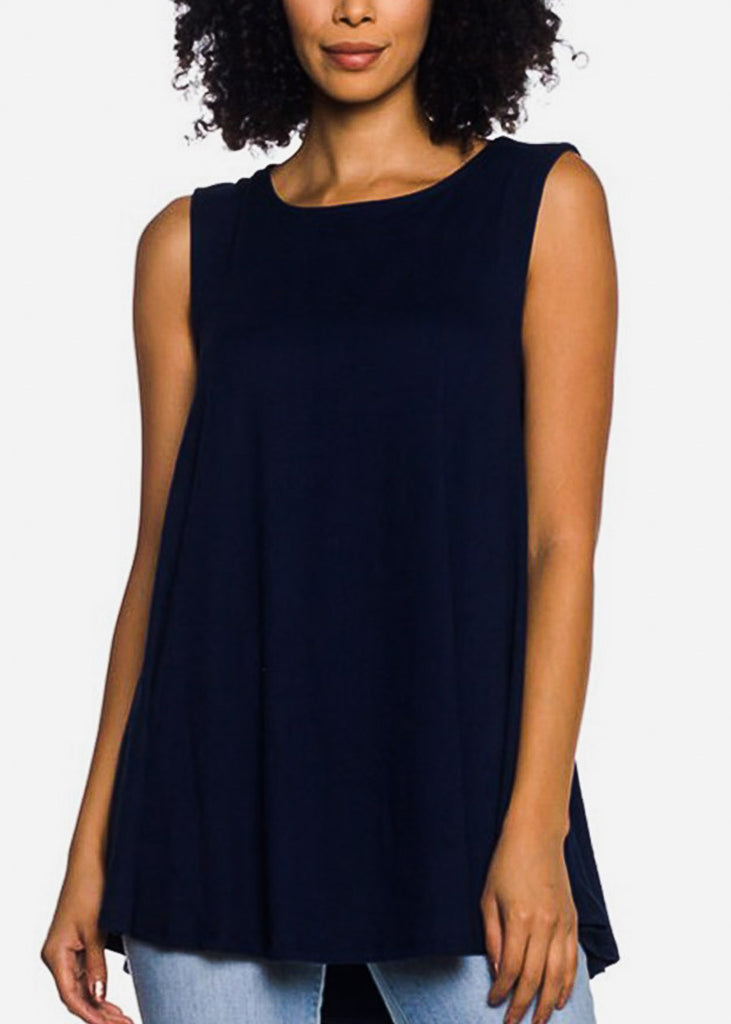 Sleeveless Navy Tunic Top