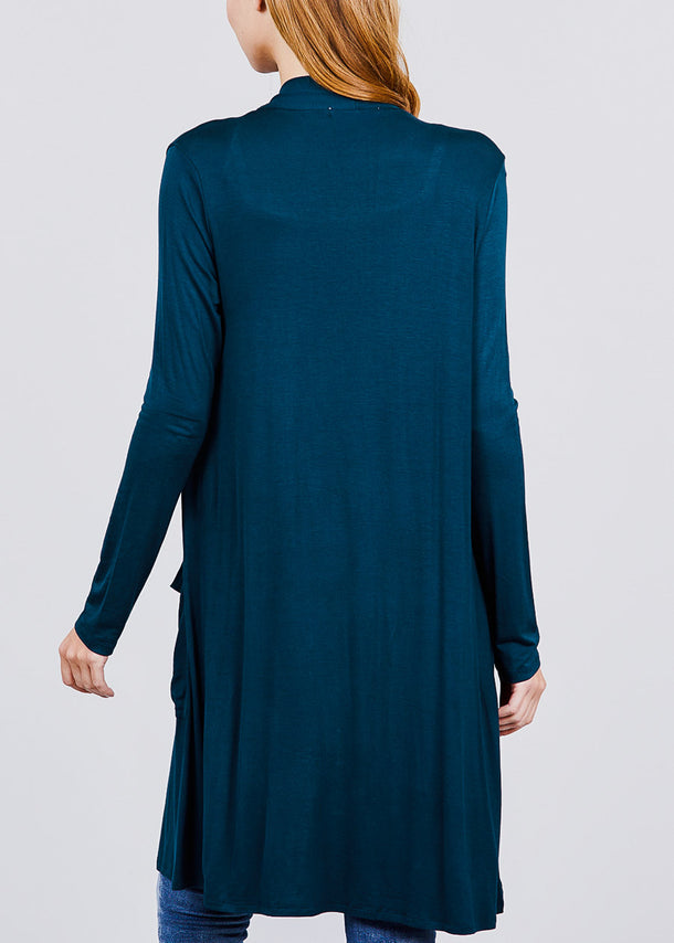 Dark Teal Open Front Maxi Cardigan