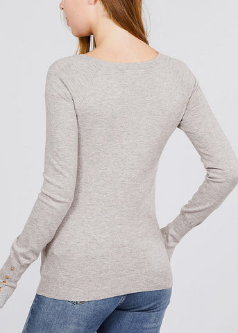 Image of V Neck Long Sleeve Heather Taupe Pullover