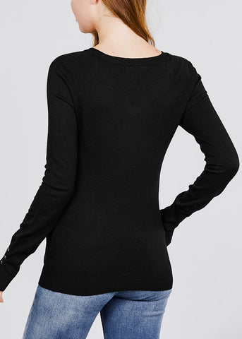 V Neck Long Sleeve Black Pullover