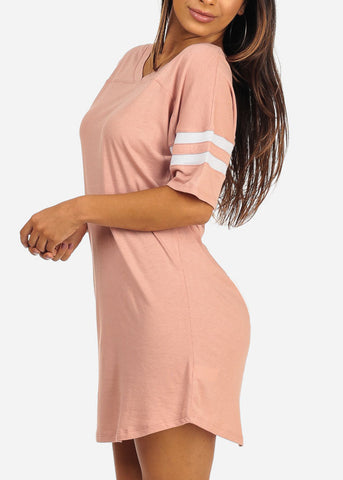 Essential Short Stripe Trim Sleeve V Neckline Above Knee Pink Little Dress