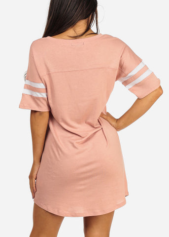 Image of Essential Short Stripe Trim Sleeve V Neckline Above Knee Pink Little Dress
