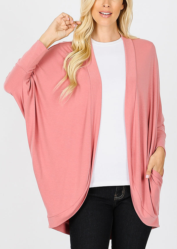 Long Sleeve Open Front Rose Cardigan