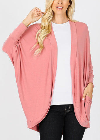 Image of Long Sleeve Open Front Rose Cardigan