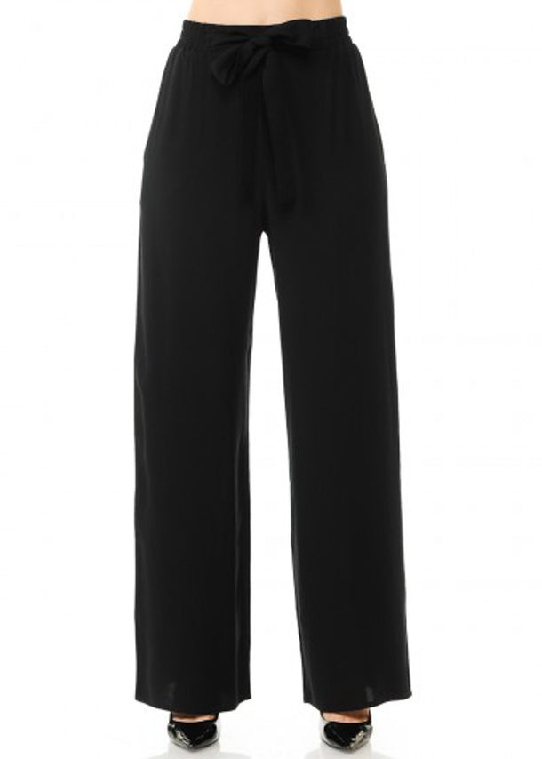 Tie Front Wide Legged Black Pants