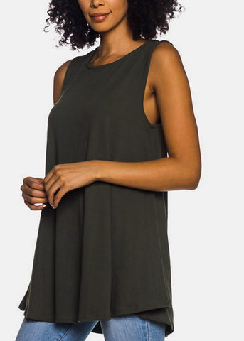 Image of Sleeveless Olive Tunic Top