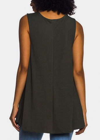 Sleeveless Olive Tunic Top