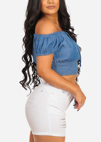 Women's Junior Sexy Must Have Going Out Trendy Denim Style Elastic Sleeves And Waist Cute Off The Shoulder Denim Crop Top