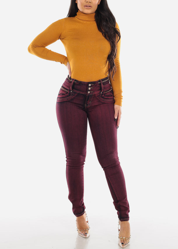 Mustard Turtle Neck Solid Top
