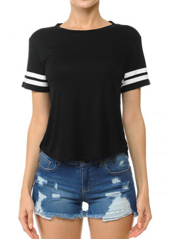 Image of Black Stripe Sleeves Varsity Tee