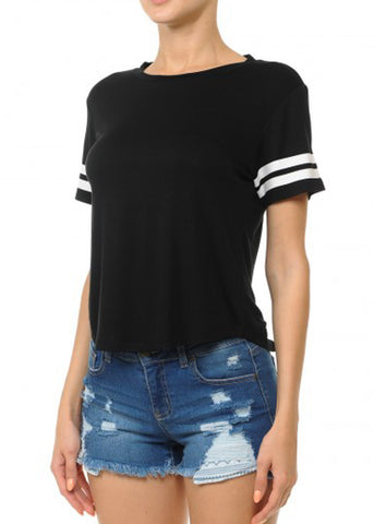 Black Stripe Sleeves Varsity Tee