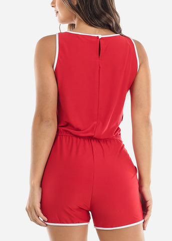 Image of Sleeveless Red Romper