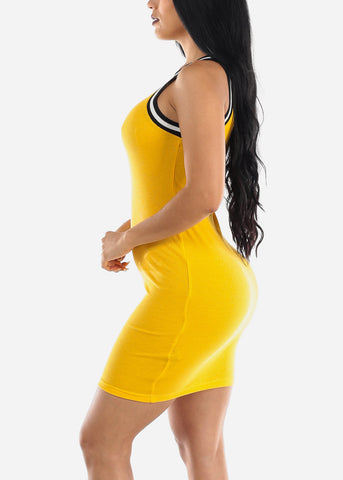 Image of Sleeveless Yellow High Neck Bodycon Dress